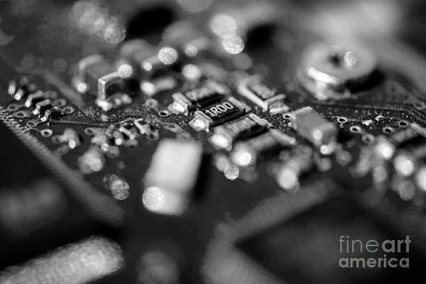 It Professional Photograph - Computer Board Black And White by Iris Richardson