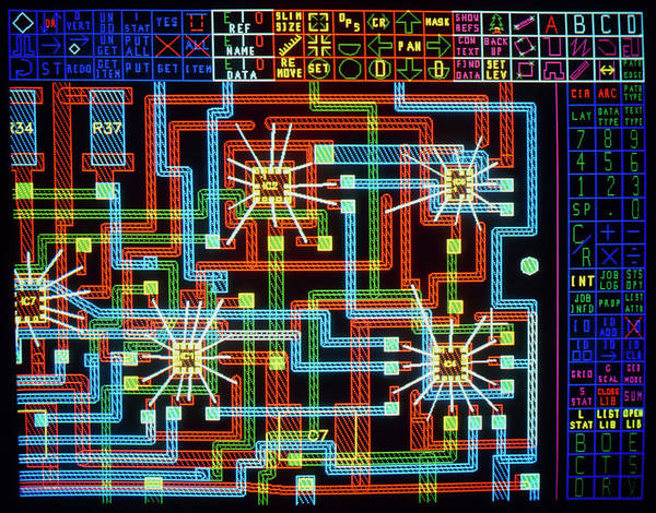 Wall Art - Photograph - Computer Design Of Multi-layered Hybrid Circuit by Simon Fraser/welwyn Electronics/science Photo Library