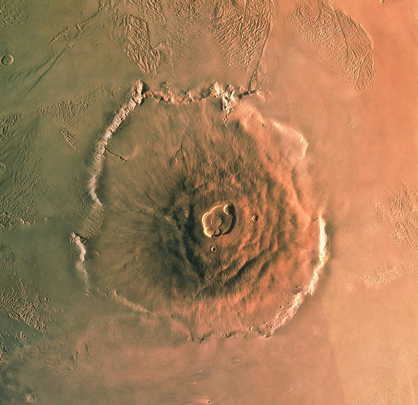 Computer-enhanced Image Of Olympus Mons Art Print
