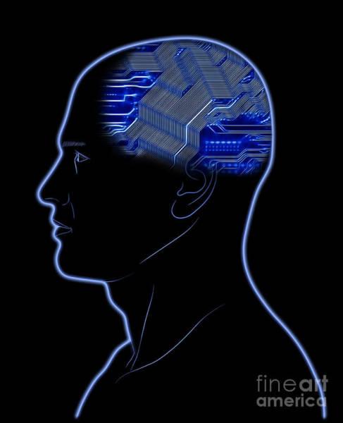 Wall Art - Digital Art - Computer In Head by Michal Boubin