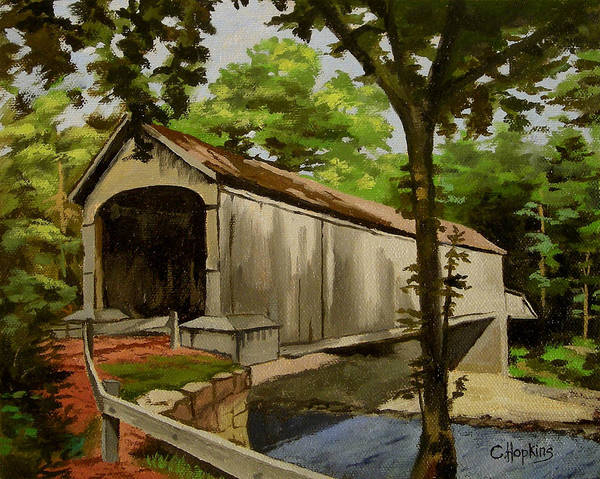 Wall Art - Painting - Comstock Covered Bridge East Hamptom Connecticut by Christine Hopkins