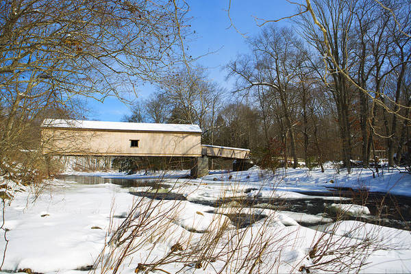 Wall Art - Photograph - Comstock Covered Bridge In Winter. by Diane Diederich