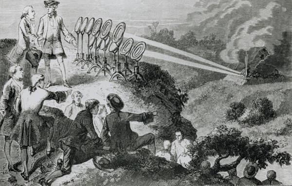 Wall Art - Photograph - Comte De Buffon Focusing Sunlight To Fire Logs by Science Photo Library