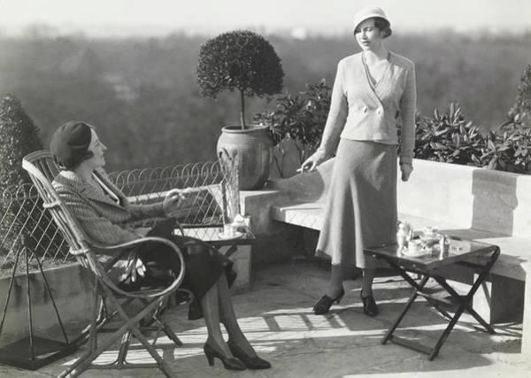 Patio Photograph - Comtesse De Maille And Comtesse De Cosse Brissac by George Hoyningen-Huene