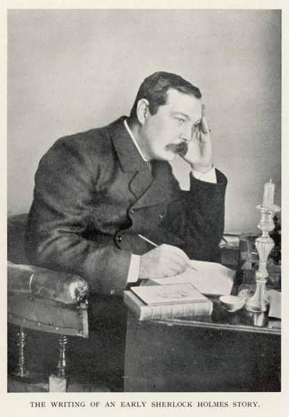 Conan Photograph - Conan Doyle Writing One Of The  Early by Mary Evans Picture Library