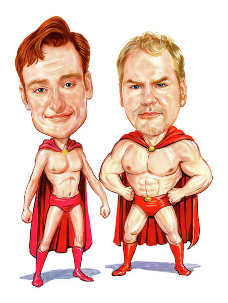 Late Wall Art - Painting - Conan  O'brien And Jim Gaffigan As Pale Force by Art