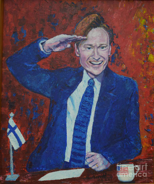 Painting - Conan O'brien Flagging Finland by Raija Merila