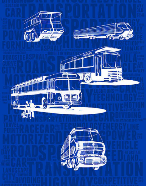Semi-truck Digital Art - Concept-art Of Express Bus by Daniel Gladkii