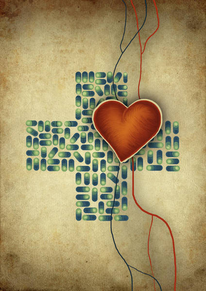 Wall Art - Photograph - Conceptual Illustration Of Heart Over Cross Shaped Capsules by Fanatic Studio / Science Photo Library