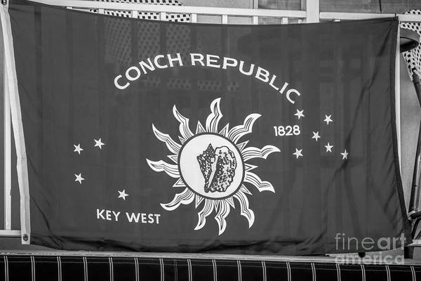 Excess Photograph - Conch Republic Flag Key West - Black And White by Ian Monk