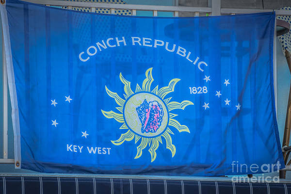 Excess Photograph - Conch Republic Flag Key West - Hdr Style by Ian Monk