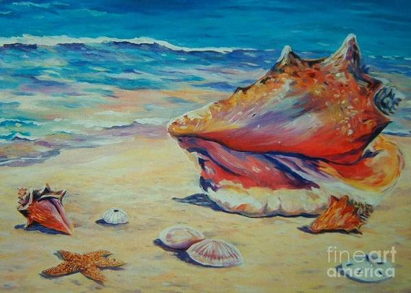 Wall Art - Painting - Conch Shell by John Clark