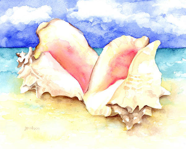 Painting - Conch Shells On Beach by Pauline Walsh Jacobson