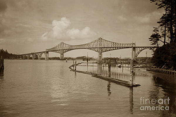 Photograph - Conde Mccullough Memorial Bridge Coos Bay Oregon  Circa 1936 by California Views Archives Mr Pat Hathaway Archives