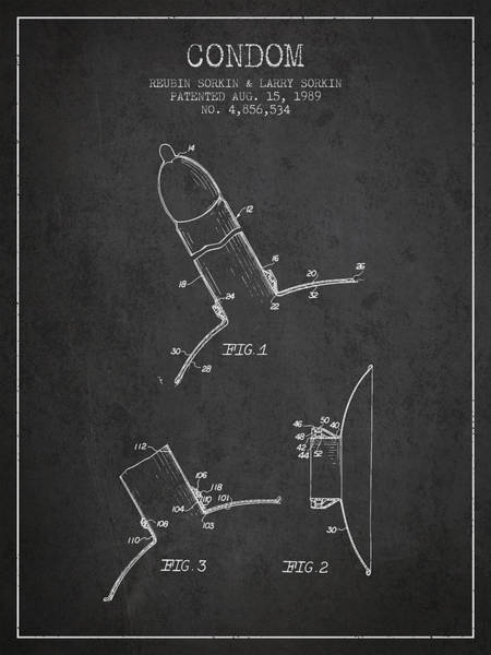 Pregnancy Digital Art - Condom Patent From 1989 - Dark by Aged Pixel