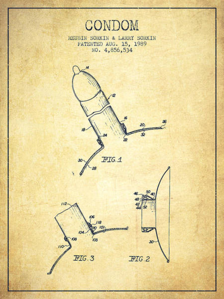 Pregnancy Digital Art - Condom Patent From 1989 - Vintage by Aged Pixel