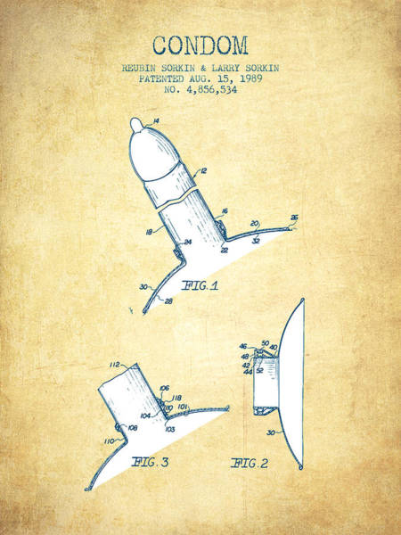 Pregnancy Digital Art - Condom Patent From 1989 - Vintage Paper by Aged Pixel