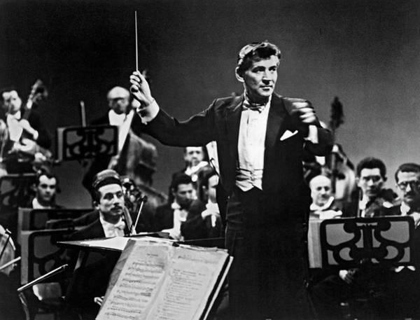 Photograph - Conductor Leonard Bernstein by Underwood Archives