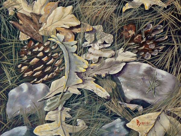 Painting - Cones Rocks Leaves And Needles by Ray Nutaitis