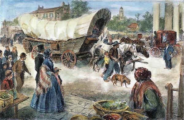 Destiny Drawing - Conestoga Wagon, 1850s by Granger