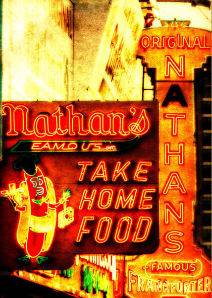 Neon Photograph - Coney Island Institution by Jon Woodhams