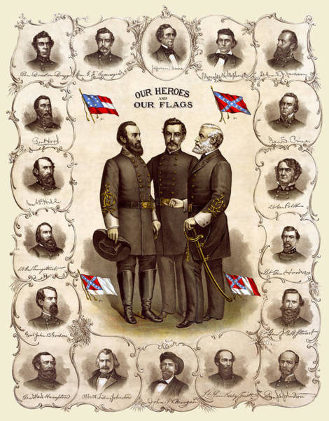 Lee Photograph - Confederate Generals And Flags by Daniel Hagerman