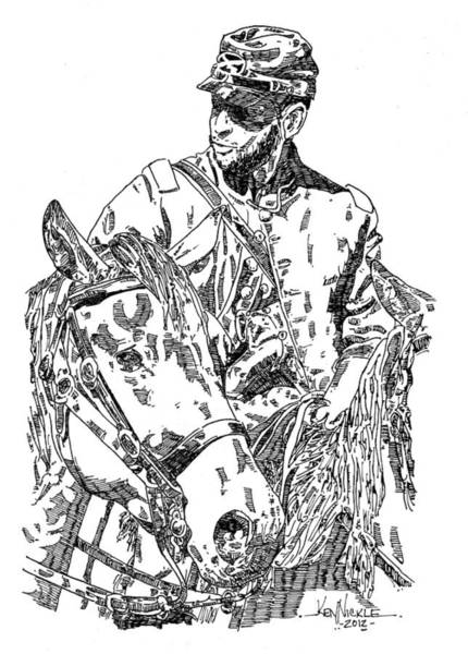 Confederate Soldier Drawing - Confederate Soldier by Ken Nickle