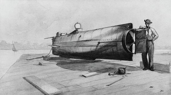 1863 Photograph - Confederate Submarine H. L. Hunley by Us Navy