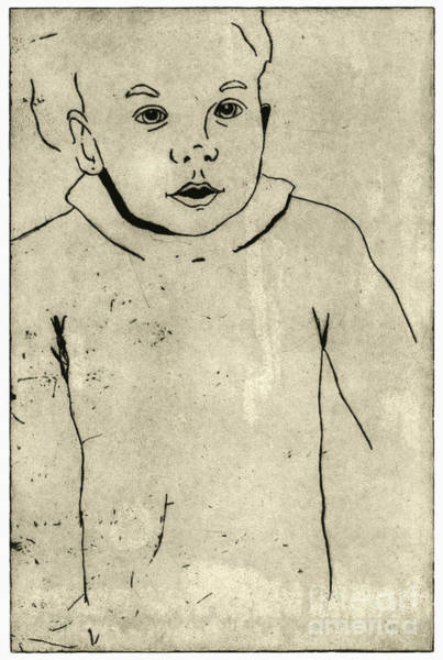 Painting - Confidence - Portrait Of A Child - Childrens World - Childs Expression - Etching by Urft Valley Art