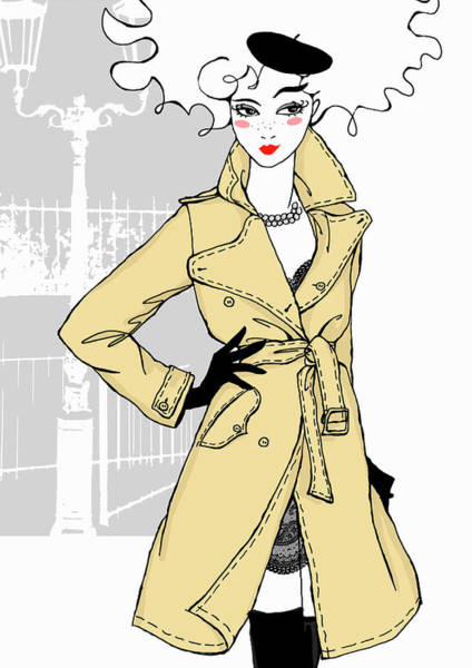Hip Digital Art - Confident Woman Wearing Trench Coat And by Susan Hassmann