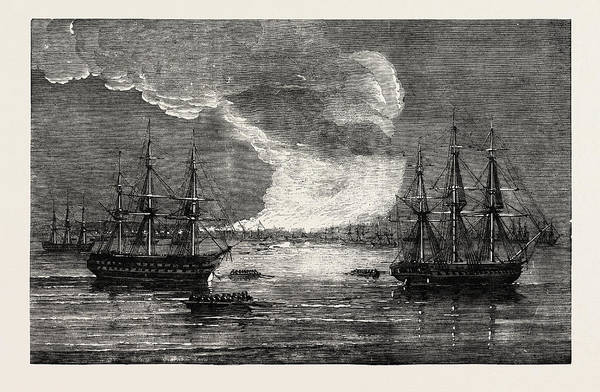1854 Drawing - Conflagration At Varna 1854 by English School