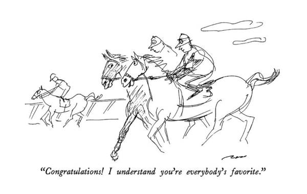 Equestrian Drawing - Congratulations!  I Understand You're Everybody's by Al Ross