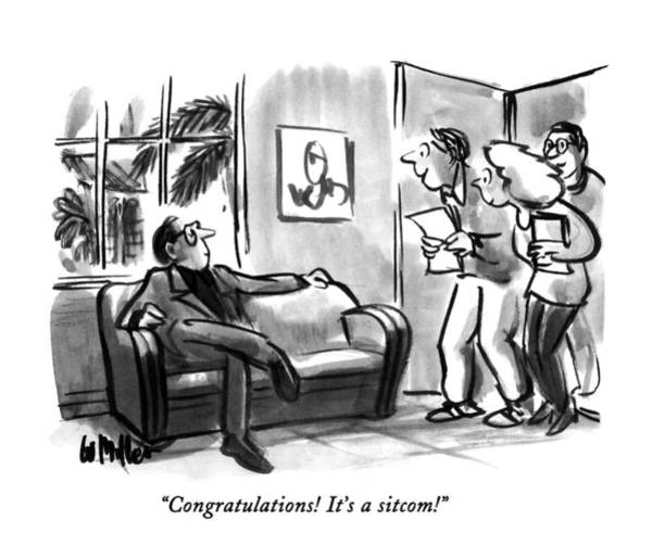 Waiting Room Drawing - Congratulations!  It's A Sitcom! by Warren Miller