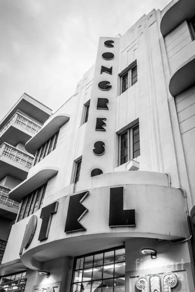 Wall Art - Photograph - Congress Hotel Art Deco District Sobe Miami Florida - Black And White by Ian Monk