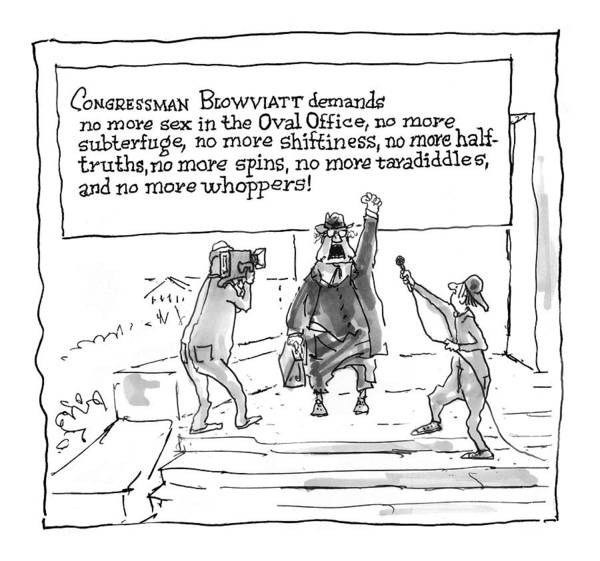 Moral Wall Art - Drawing - 'congressman Blowviatt Demands No More Sex by George Booth