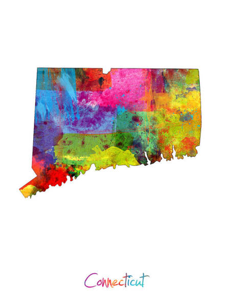 Wall Art - Digital Art - Connecticut Map by Michael Tompsett