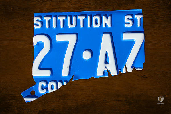 Stamford Wall Art - Mixed Media - Connecticut State License Plate Map by Design Turnpike