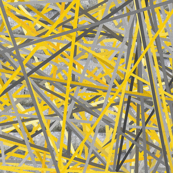 Painting - Connection - Yellow And Gray Wall Art by Lourry Legarde