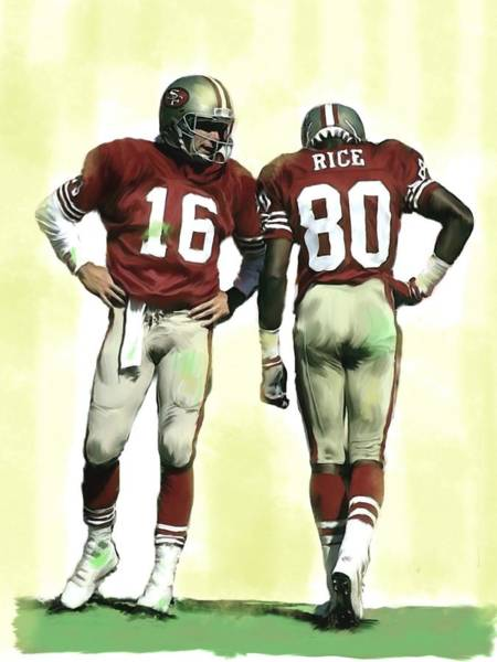 Wall Art - Painting - The Connection II Joe Montana And Jerry Rice  by Iconic Images Art Gallery David Pucciarelli