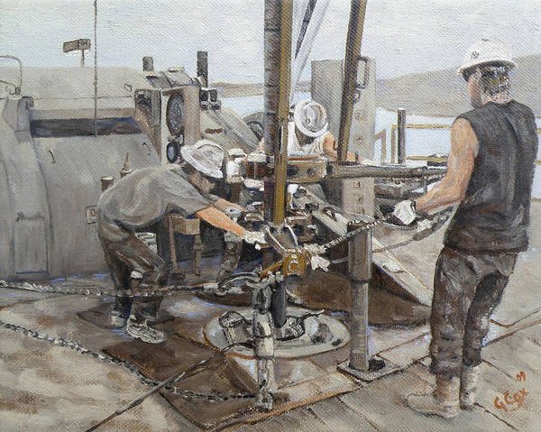 Oil Well Painting - Connection Time by Galen Cox