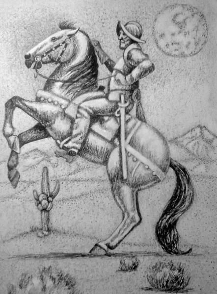 Drawing - Conquistador Hernan Cortes by Bern Miller