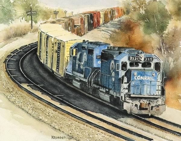 Diesel Trains Painting - Conrail Desending A Percent Grade by Steve Krueger