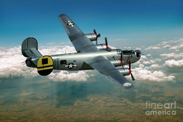 Weaponry Digital Art - Consolidated B-24 Liberator by Wernher Krutein