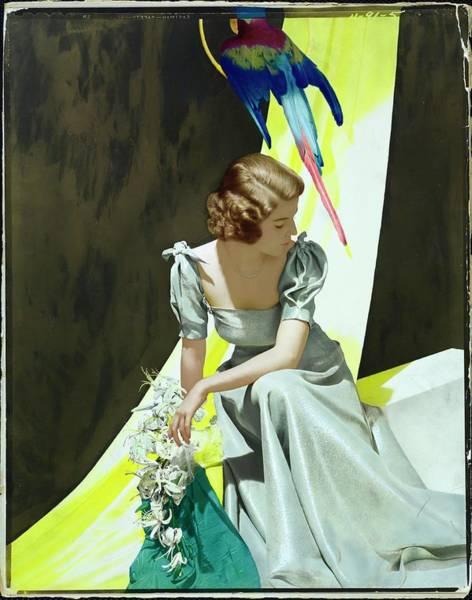 Blue Flower Photograph - Constance Looram Wearing A Henri Bendel Dress by Horst P. Horst