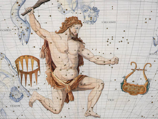 Kneeling Painting - Constellation Of Hercules With Corona And Lyra by Sir James Thornhill