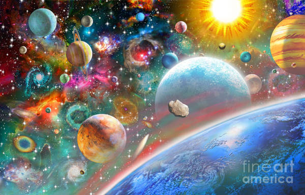 Horizontal Digital Art - Constellations And Planets by MGL Meiklejohn Graphics Licensing