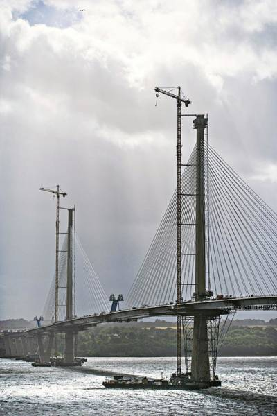 Cable-stayed Bridge Photograph - Construction Of Queensferry Crossing Bridge by Lewis Houghton/science Photo Library