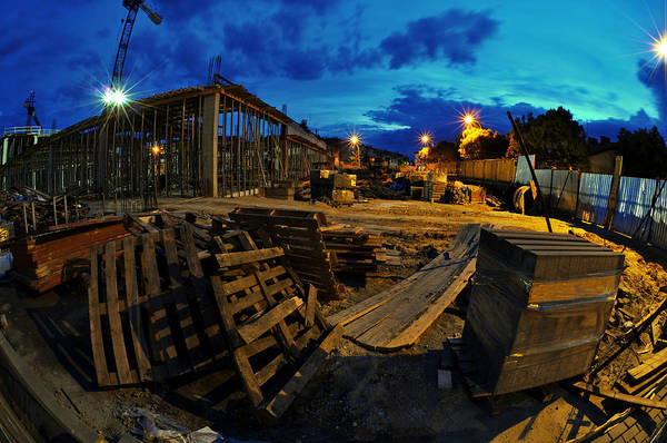 Scaffold Photograph - Construction Site At Night by Jaroslaw Grudzinski