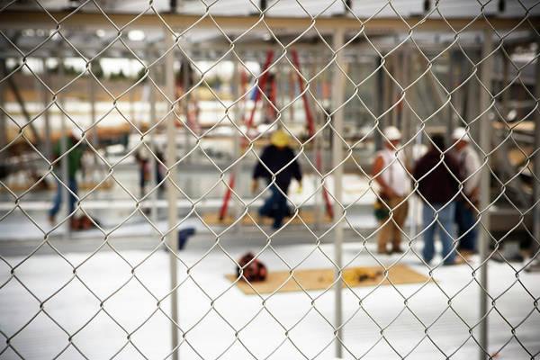 Chain Link Photograph - Construction Site by Ron Koeberer