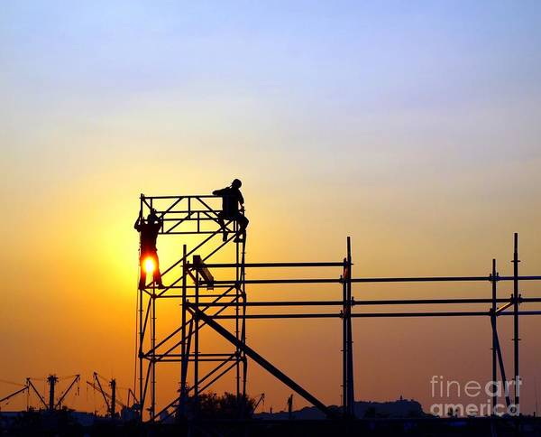 Construction Workers On A Scaffold Art Print